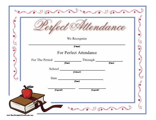 Perfect Attendance templates | Certificate Templates