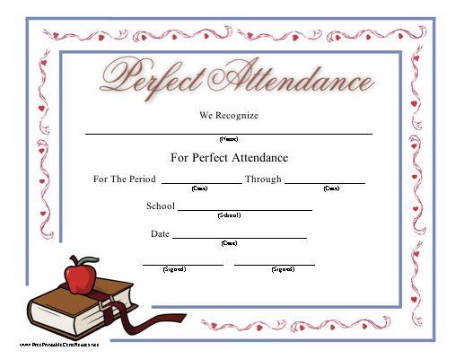 Perfect Attendance templates | Certificate Templates