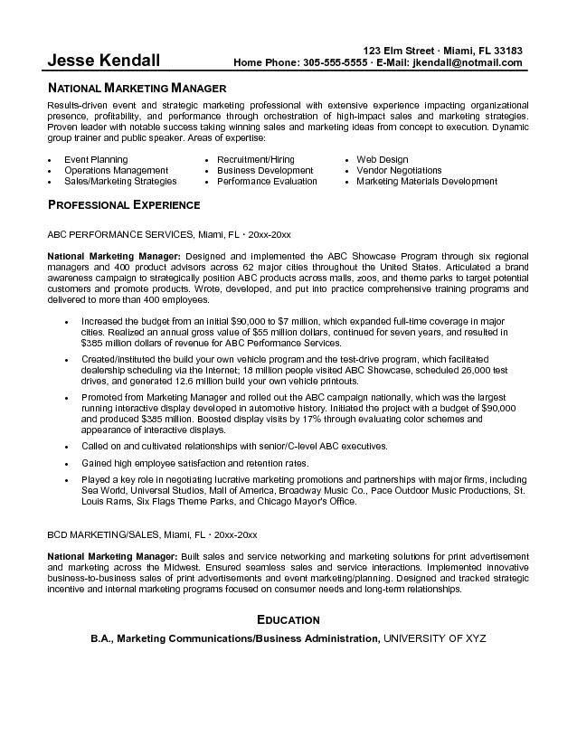 Marketing Manager Resume | berathen.Com