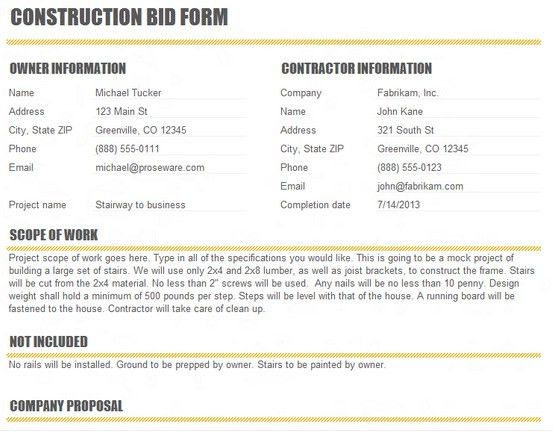 Construction Bid Proposal Template Excel - Excel About