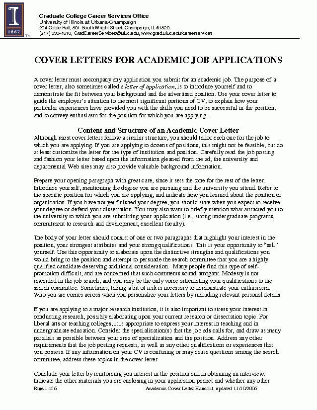 Example Cover Letter Academic Position - Mediafoxstudio.com