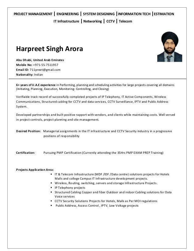 Harpreet Singh Arora Resume for Project Manager