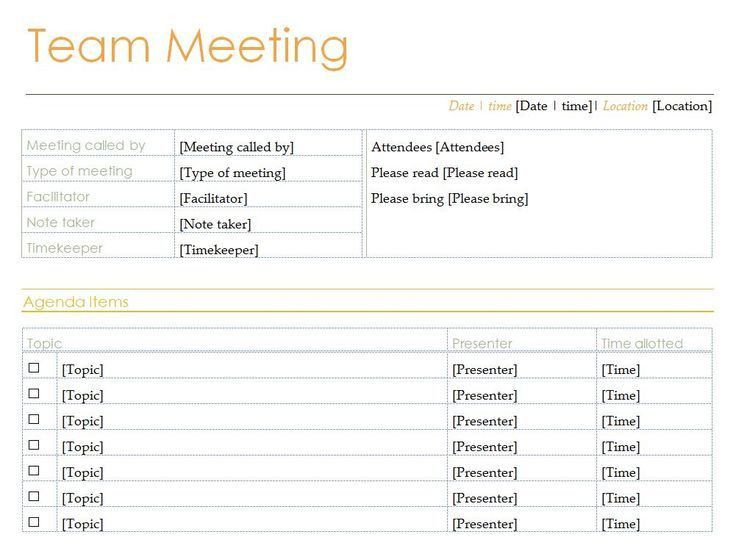 13 best Meeting agenda images on Pinterest | Business ideas ...