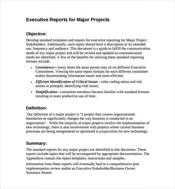 Executive Report Template   7+ Free Word, PDF Documents Download .