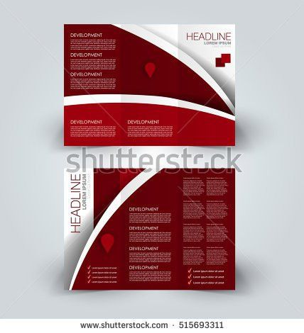 Vector Red Black Trifold Brochure Design Stock Vector 401107441 ...