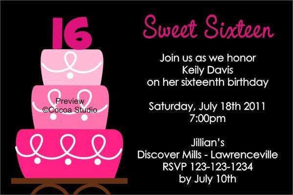 Sweet 16th Birthday Invitations Templates Free Printable | Drevio ...