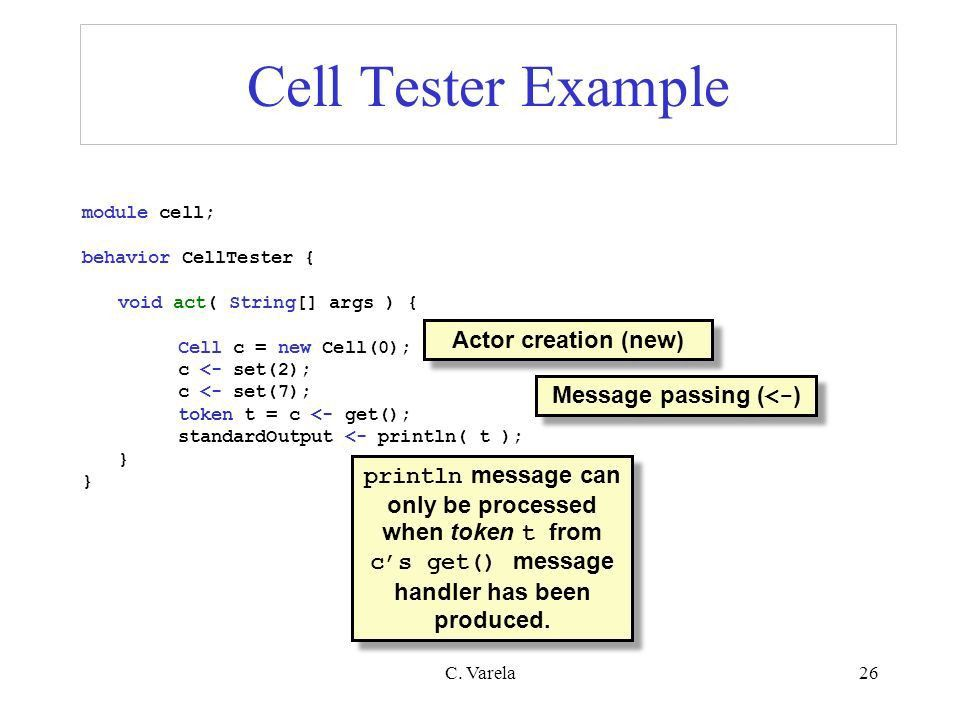 C. Varela1 Actors in SALSA and Erlang (PDCS 9, CPE 5*) Support for ...