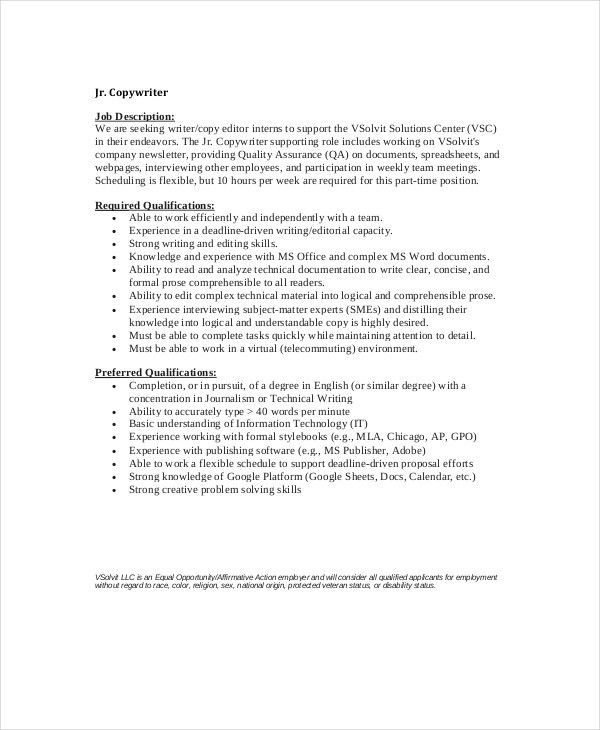 Copywriter Job Description - 8+ Free PDF Documents Download | Free ...