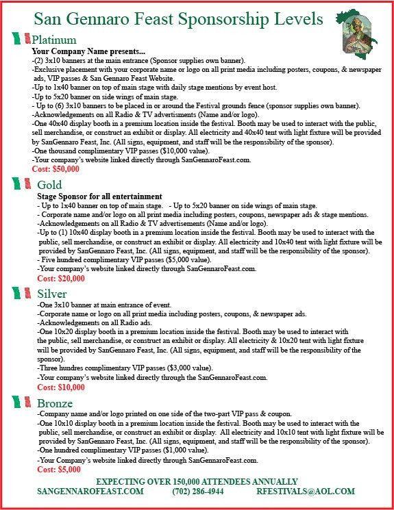 San Gennaro Feast | Sponsorship Levels
