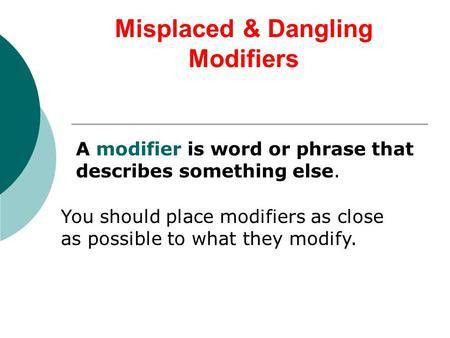 Dangling and Misplaced Modifiers - ppt download