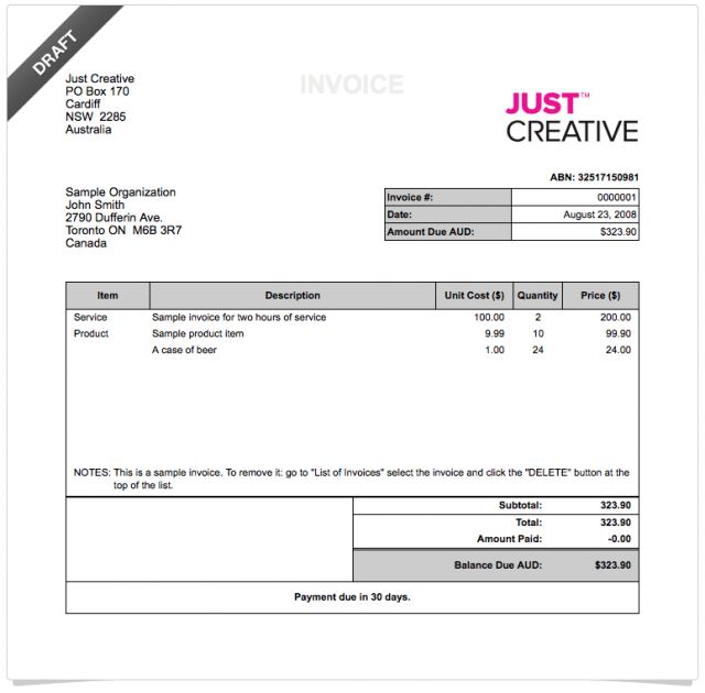 Invoice With Deposit Template | free printable invoice