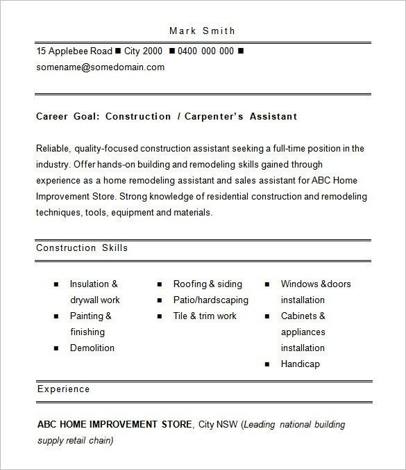 Download Resume For Construction Worker | haadyaooverbayresort.com