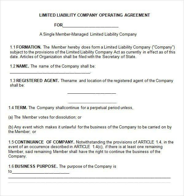 Operating Agreement Template For Llc | Template Design