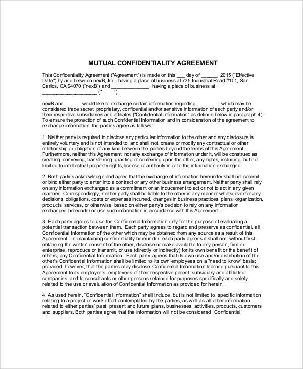 Volunteer Confidentiality Agreement – 10+ Free Word, PDF Documents ...