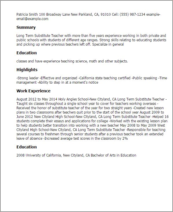 Professional Long Term Substitute Teacher Templates to Showcase ...