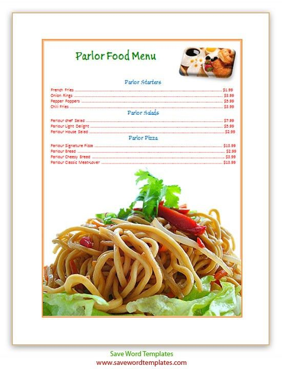 Free Word Templates: Lunch Menu Template
