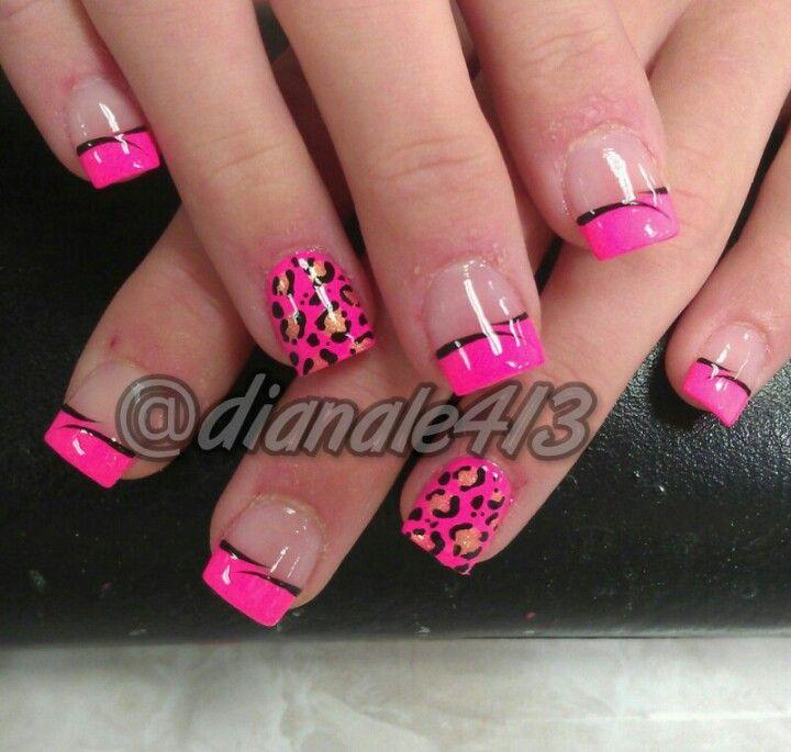Love My Nails Zebra And Cheetah Print Nail Art French Tip Design