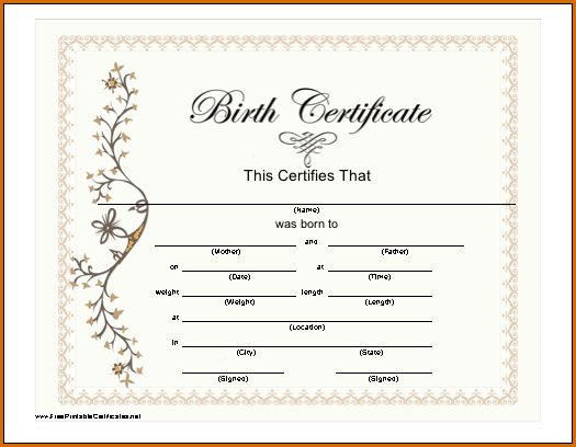 7+ blank birth certificate | Authorizationletters.org