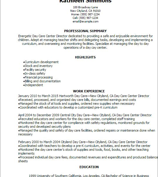 Child Care Manager Sample Resume Professional Day Care Center