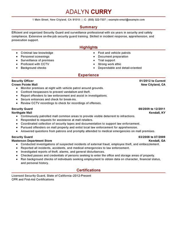 Creative Inspiration Security Supervisor Resume 16 Security Guard ...