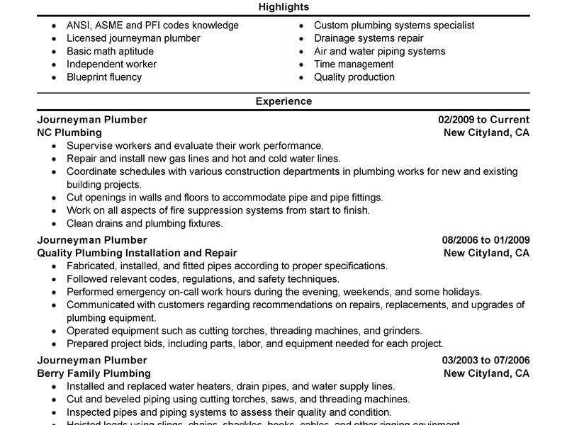 Chic Idea Plumbing Resume 11 Best Journeymen Plumbers Resume ...