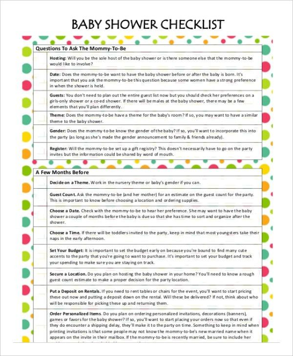 Printable Baby Shower Planner Template - 8+ Free PDF Documents ...