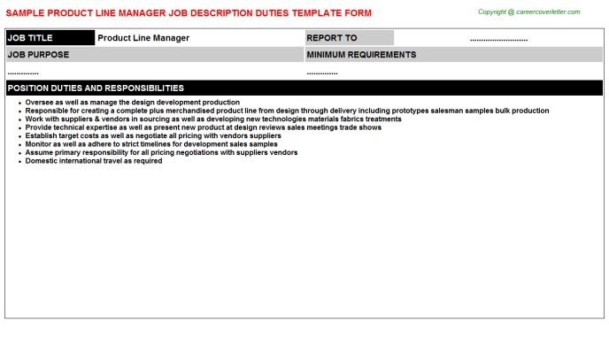 Product Line Manager Job Title Docs