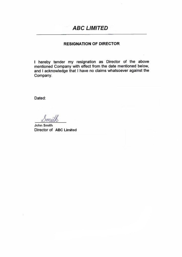 Resignation Letter Format: Director Limited Simple Resignation ...