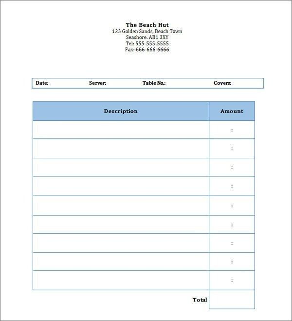 Restaurant Invoice Template - Best Resume Collection