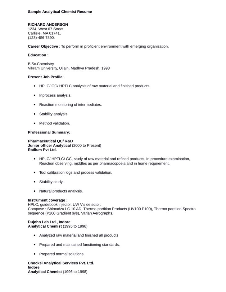 Professional Chemist Resume Template