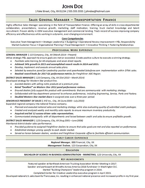 Transportation Resume Example - General Manager - Trucking