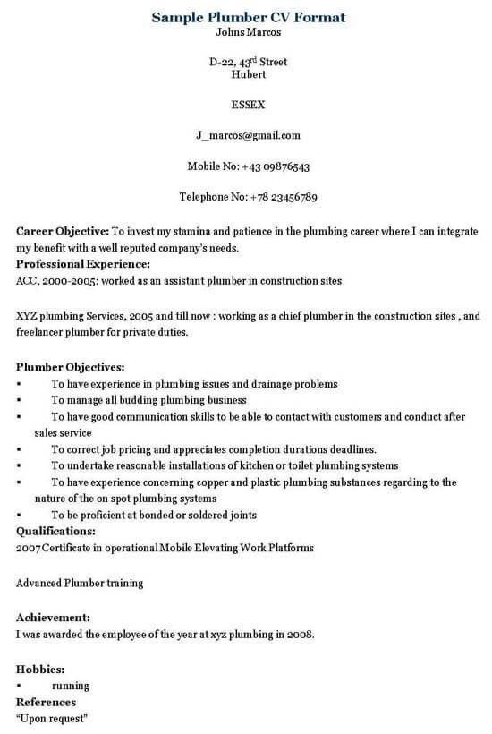 plumbing resume templates resume example unforgettable