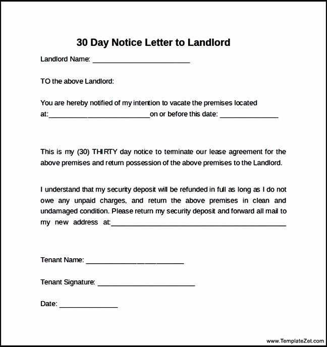 30 Day Notice Letter to Landlord | TemplateZet