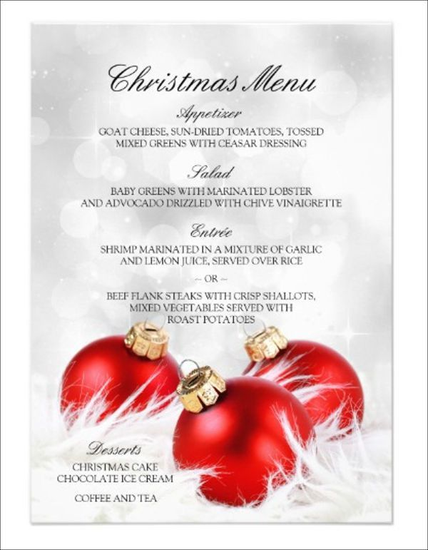 9+ Holiday Party Menu Templates - Designs, Templates | Free ...
