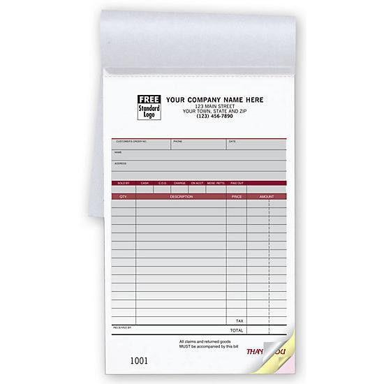 Sales Receipt Books - Custom Invoice | DesignsnPrint