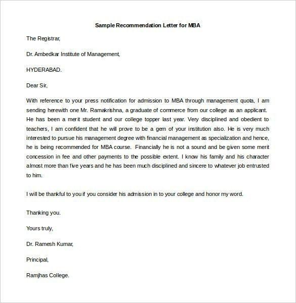 Sample Recommendation Letter Format. Sample Recommendation Letter ...