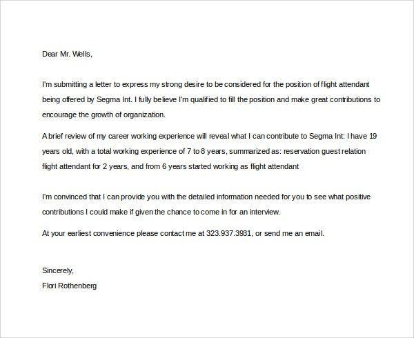 Sample Flight Attendant Cover Letter - 6+ Free Documents in PDF, Word