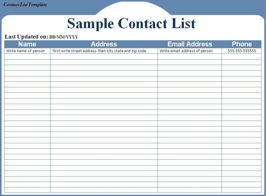 Easy to Use Contact List Template Samples For Your Inspirations ...
