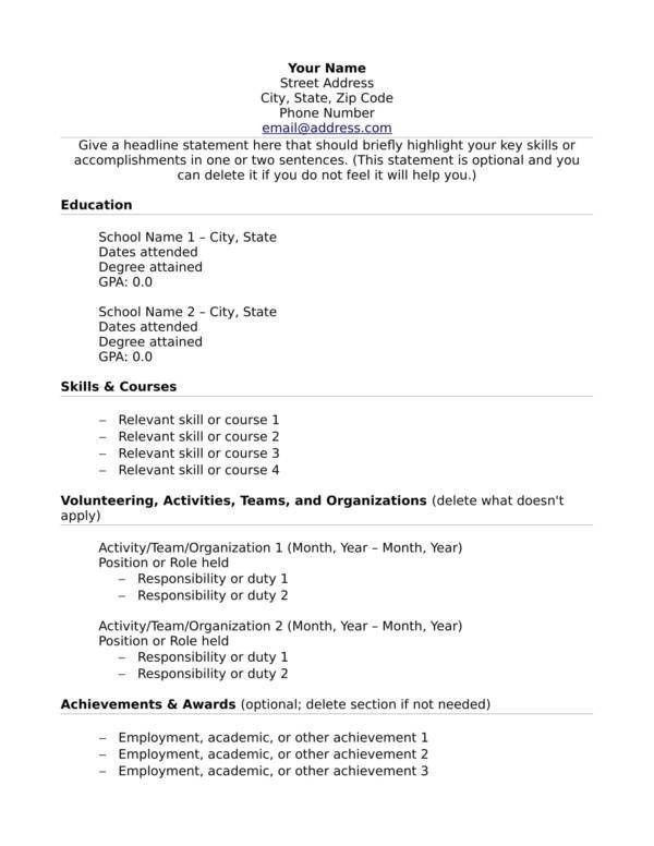 No Experience Resume Template. Resume For High School Students ...