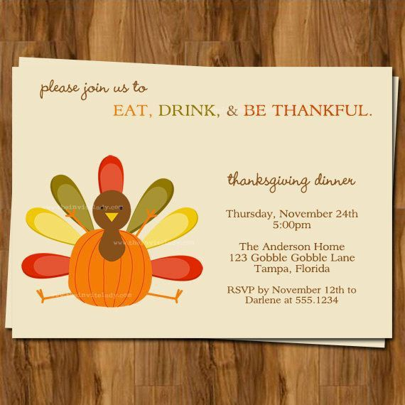 Free Printable Thanksgiving Dinner Invitations | cimvitation