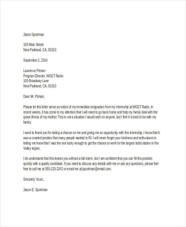 6+ Sample Internship Resignation Letters - Free Sample, Example ...