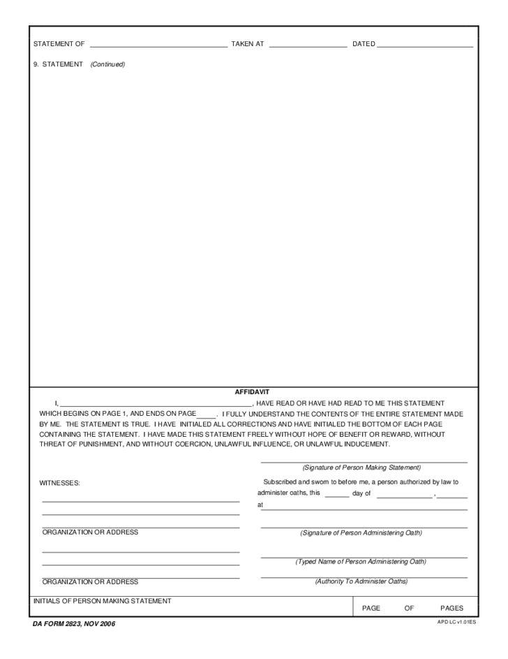 Sworn Statement Free Download