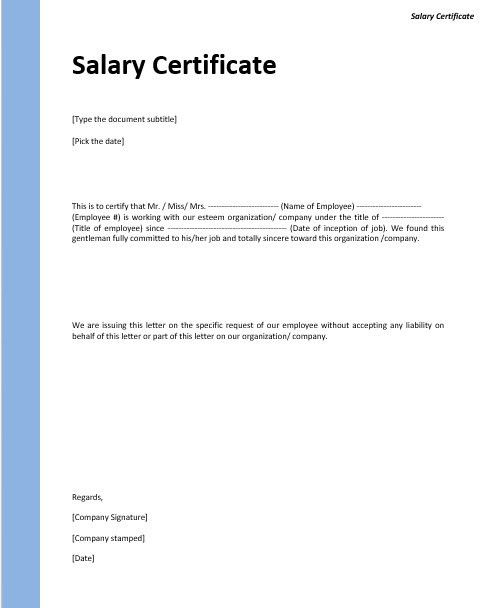9 Free Sample Income Certificate Templates – Printable Samples