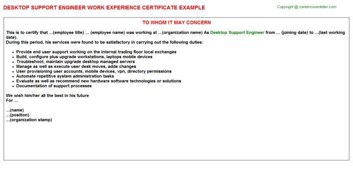 desktop support engineer job title docs