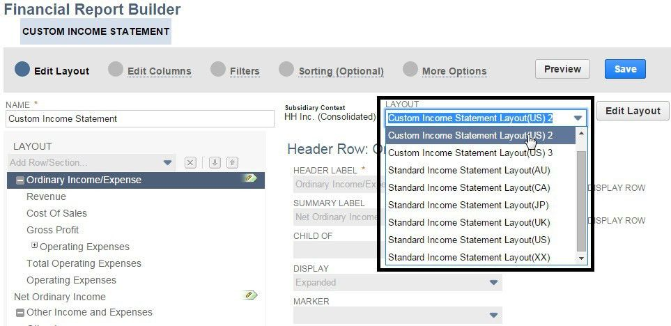 Set Custom Layouts within Standard NetSuite Financial Statements ...