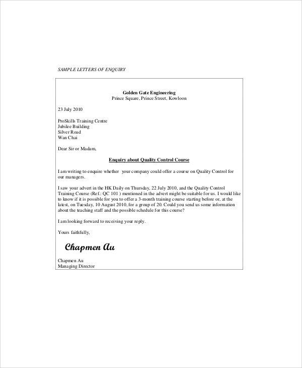 Sample Business Enquiry Letter - 5+ Examples in Word, PDF