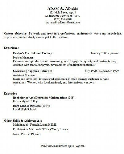 Example Of A Simple Resume | haadyaooverbayresort.com