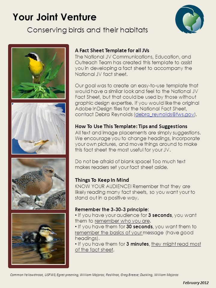 Your Joint Venture Conserving birds and their habitats A Fact ...