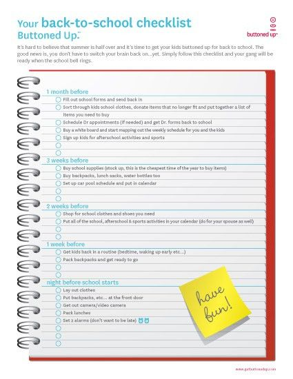 Free printable back-to-school checklist form « Buttoned Up