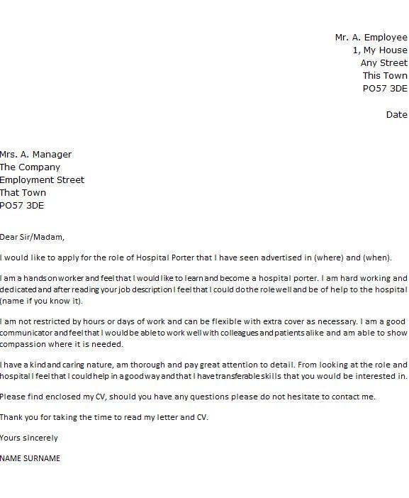 Hospital Porter Cover Letter Example - icover.org.uk